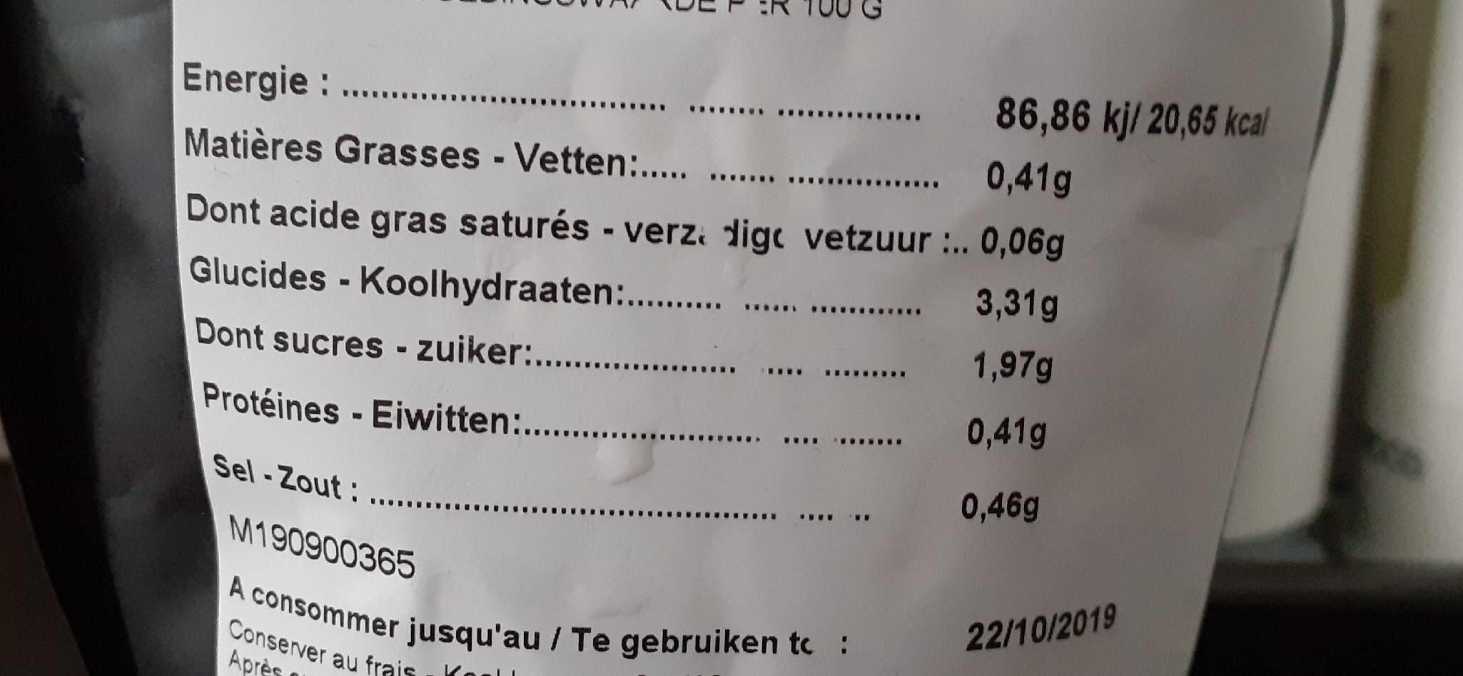 Soupe tomate butternutt - Voedingswaarden