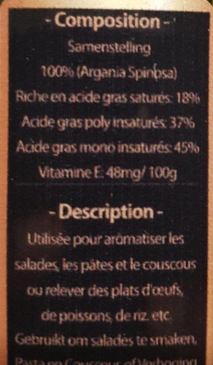 Huile d'argan alimentaire bio 250ml - Voedingswaarden - fr