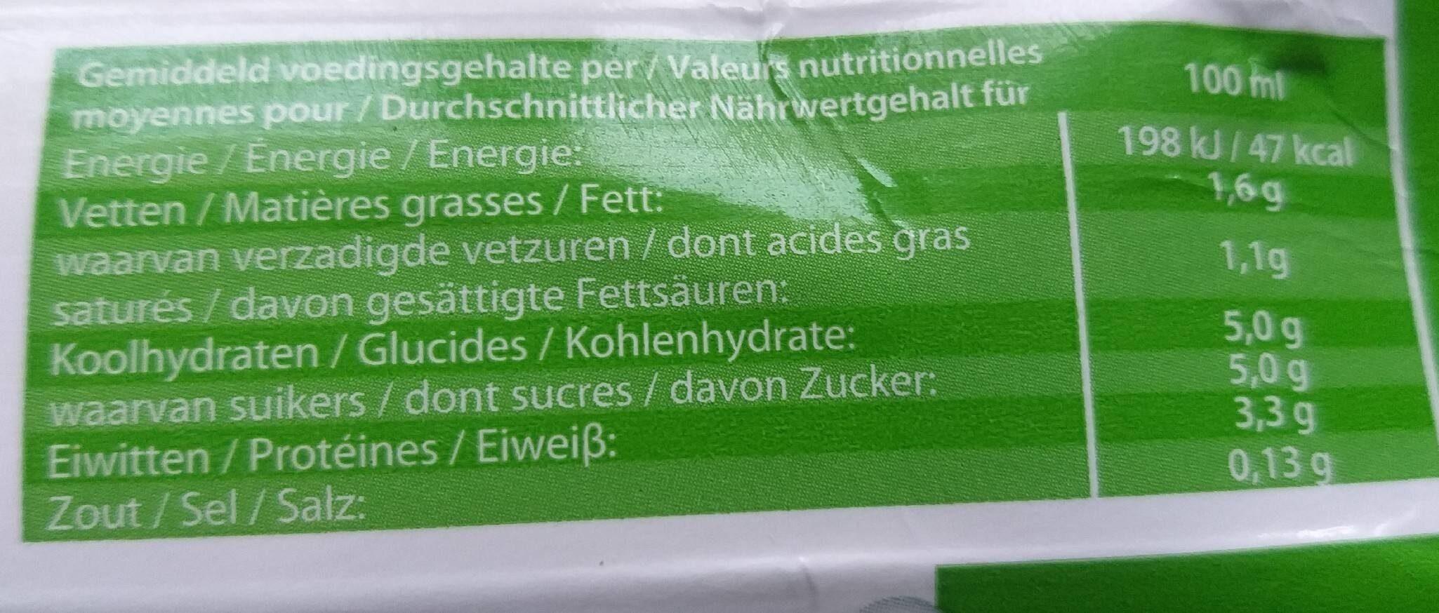 Lait demi- écrémé - Informations nutritionnelles - fr