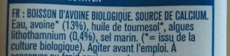 Boisson d'avoine bio - Ingrediënten