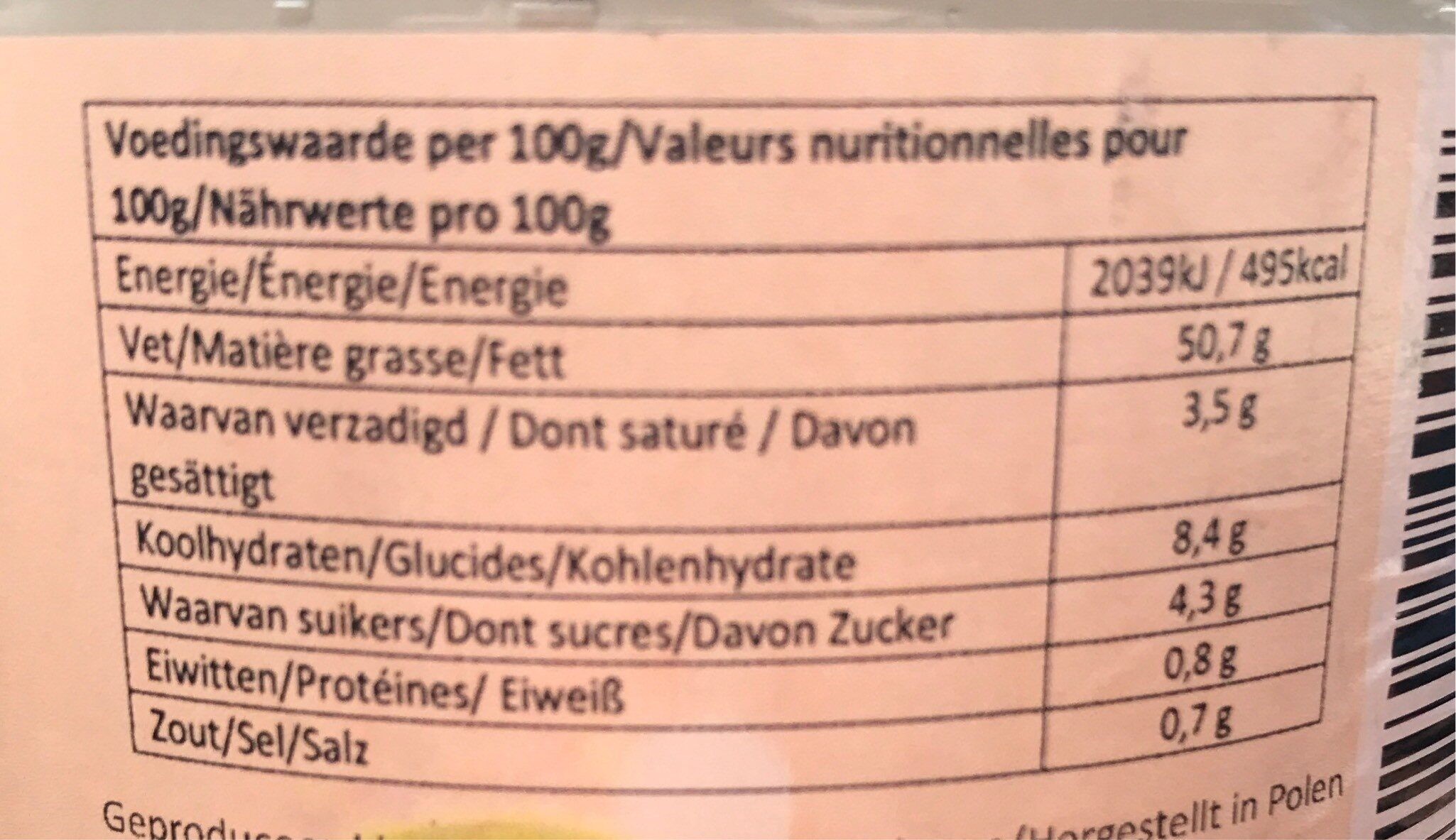 Veggie-naise - Informations nutritionnelles