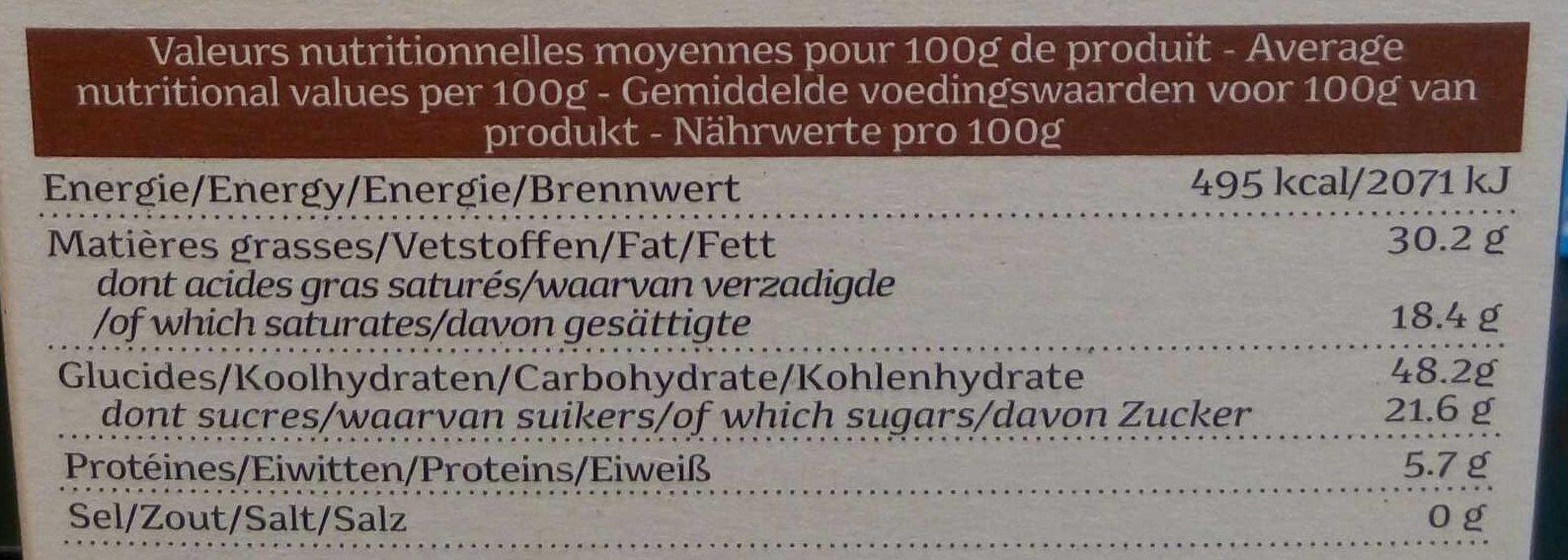 Charlotte chocolat - Voedingswaarden