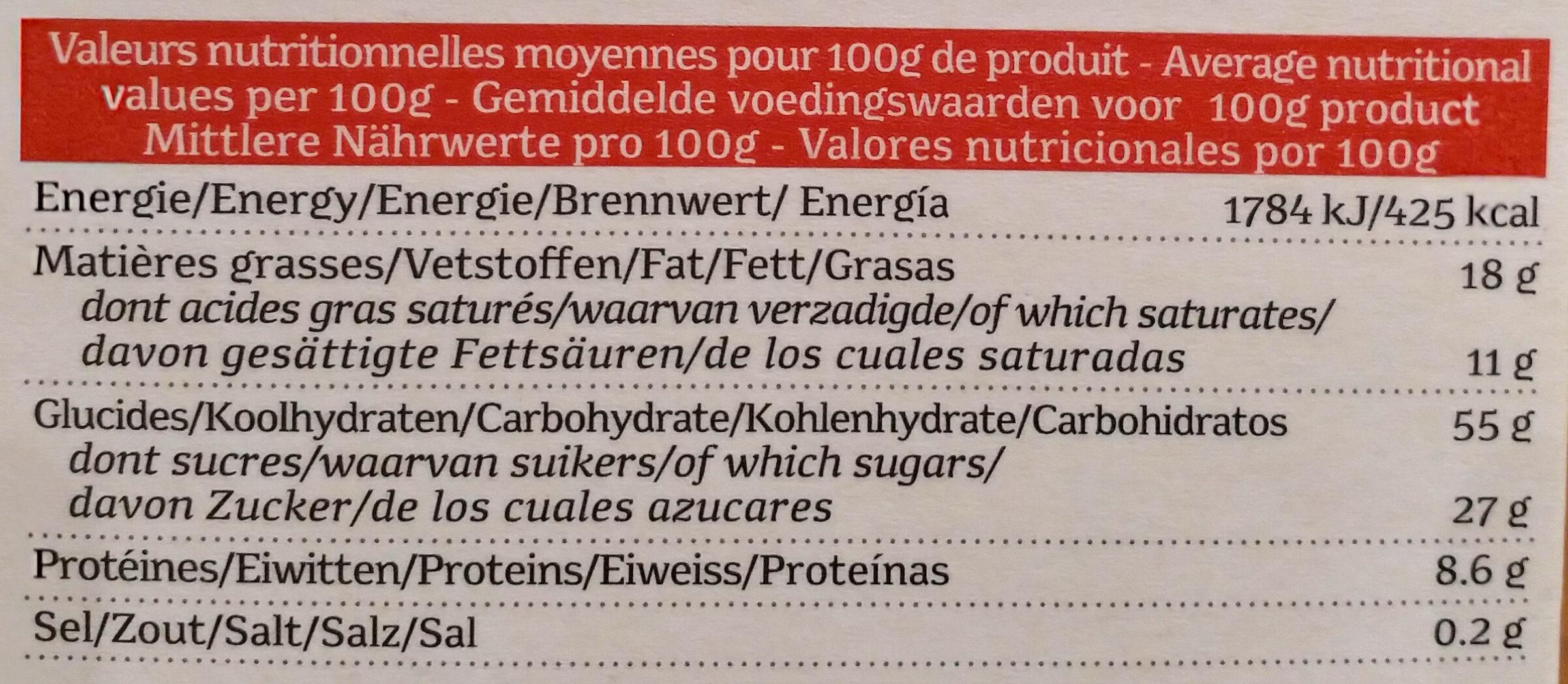 Sylvain Speculoos - Voedingswaarden - fr