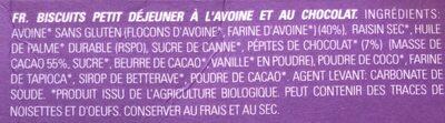 Petit déjeuner - ONTBIJT biscuit à l'avoine et au chocolat - Ingrédients - fr