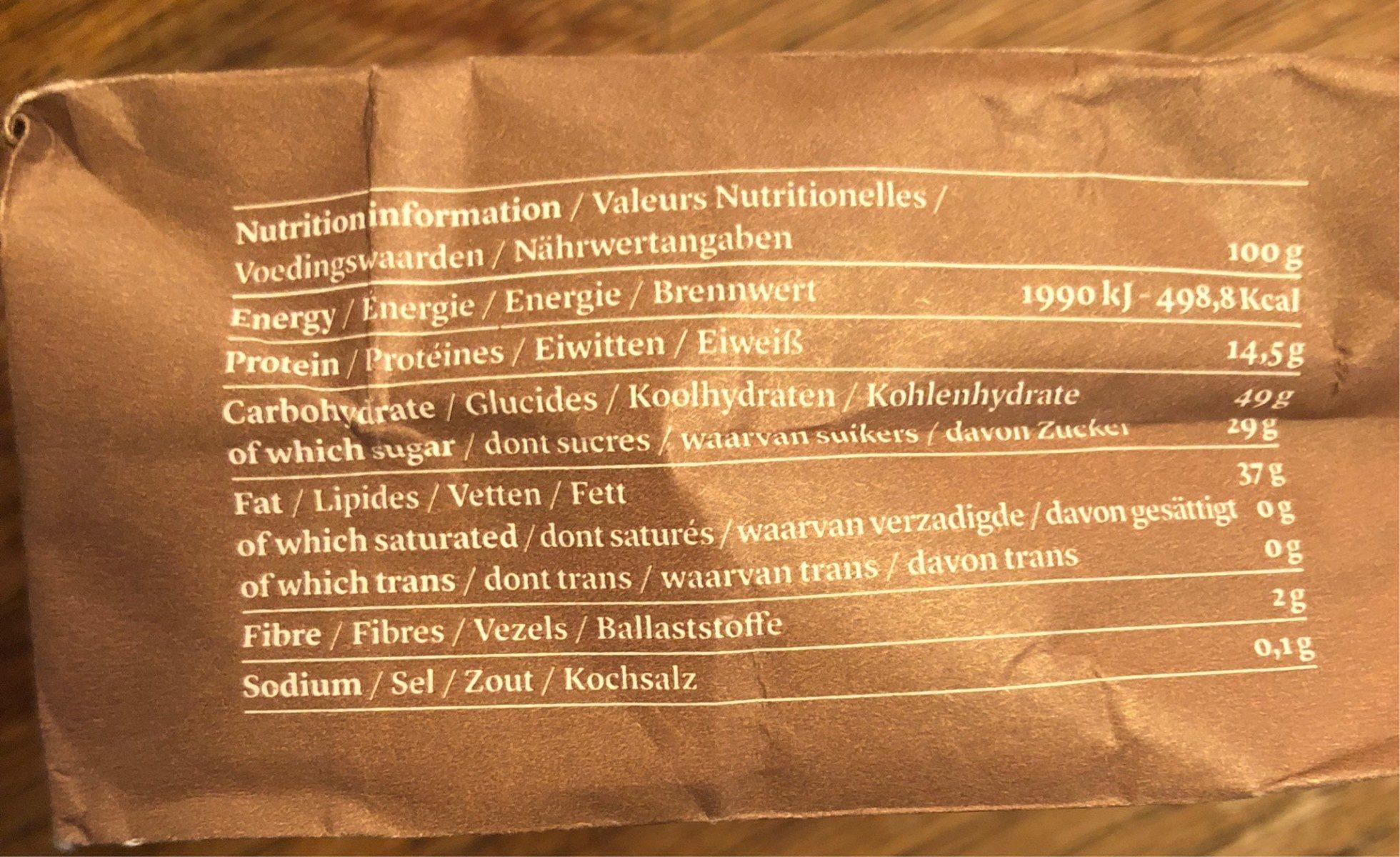 Biscuits de sesame au chocolat - Informations nutritionnelles