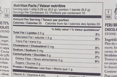 Chocolat noir peru brutus 75% - Informations nutritionnelles - fr