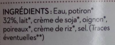 Soupe du chef potiron - Ingrédients