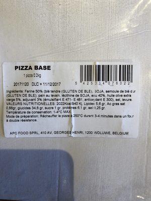 Pizza base - Ingrédients - fr