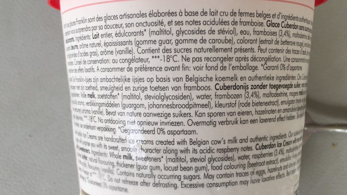 Belgian Cuberdon Icecream - Ingrédients - fr