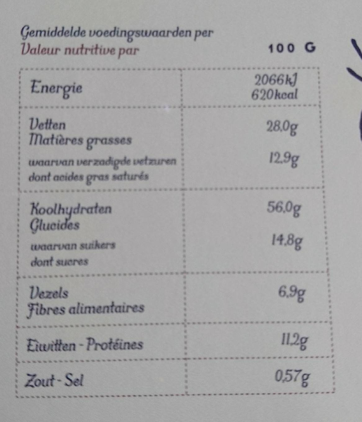 Granola chocolat - Nutrition facts - fr