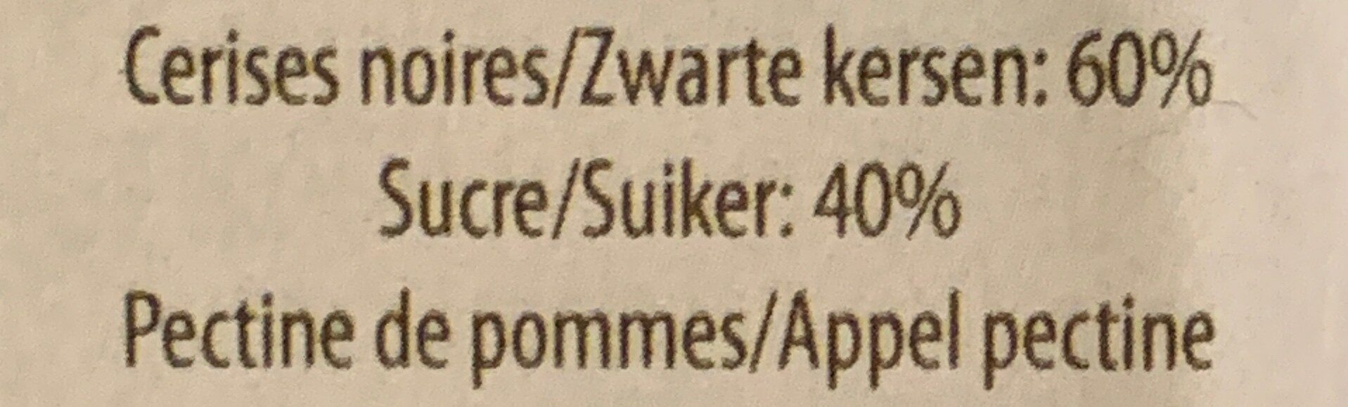 Confitures de Cerises Noires - Ingrediënten - nl