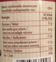 Jus de Pommes Cerises - Voedingswaarden