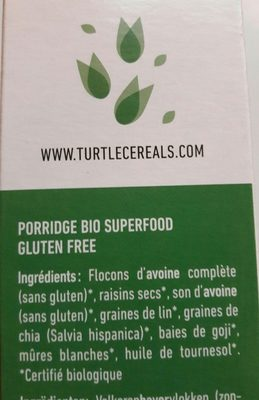 Porridge bio Goji & Chia Gluten Free - Ingrédients - fr