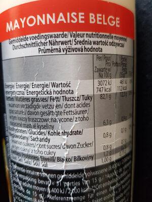 Belgian mayonnaise - Voedingswaarden