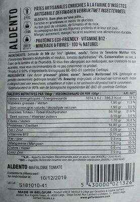 ALDENTO - Nutrition facts