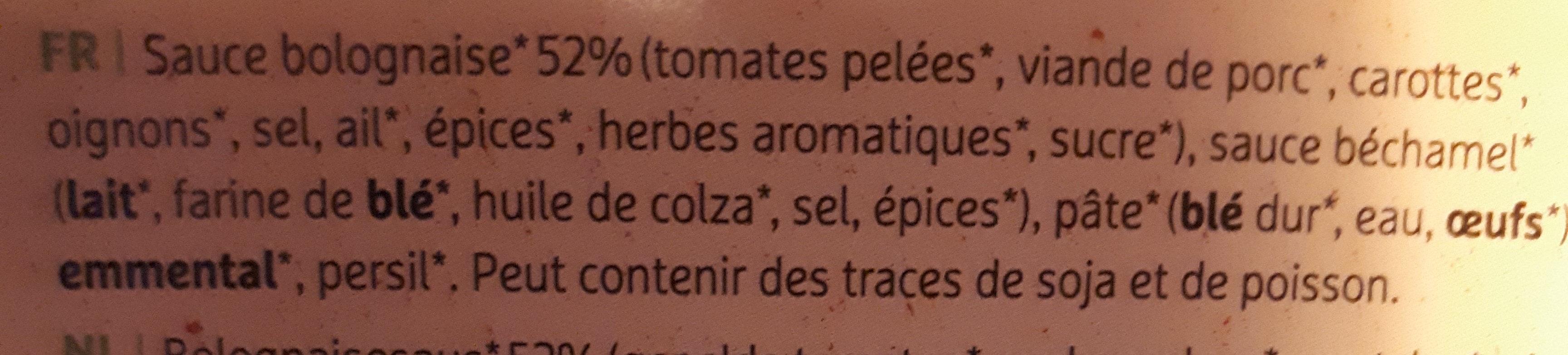 Lasagne bolognaise bio - Ingrediënten - fr