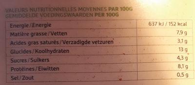 Lasagne bolognaise bio - Voedingswaarden