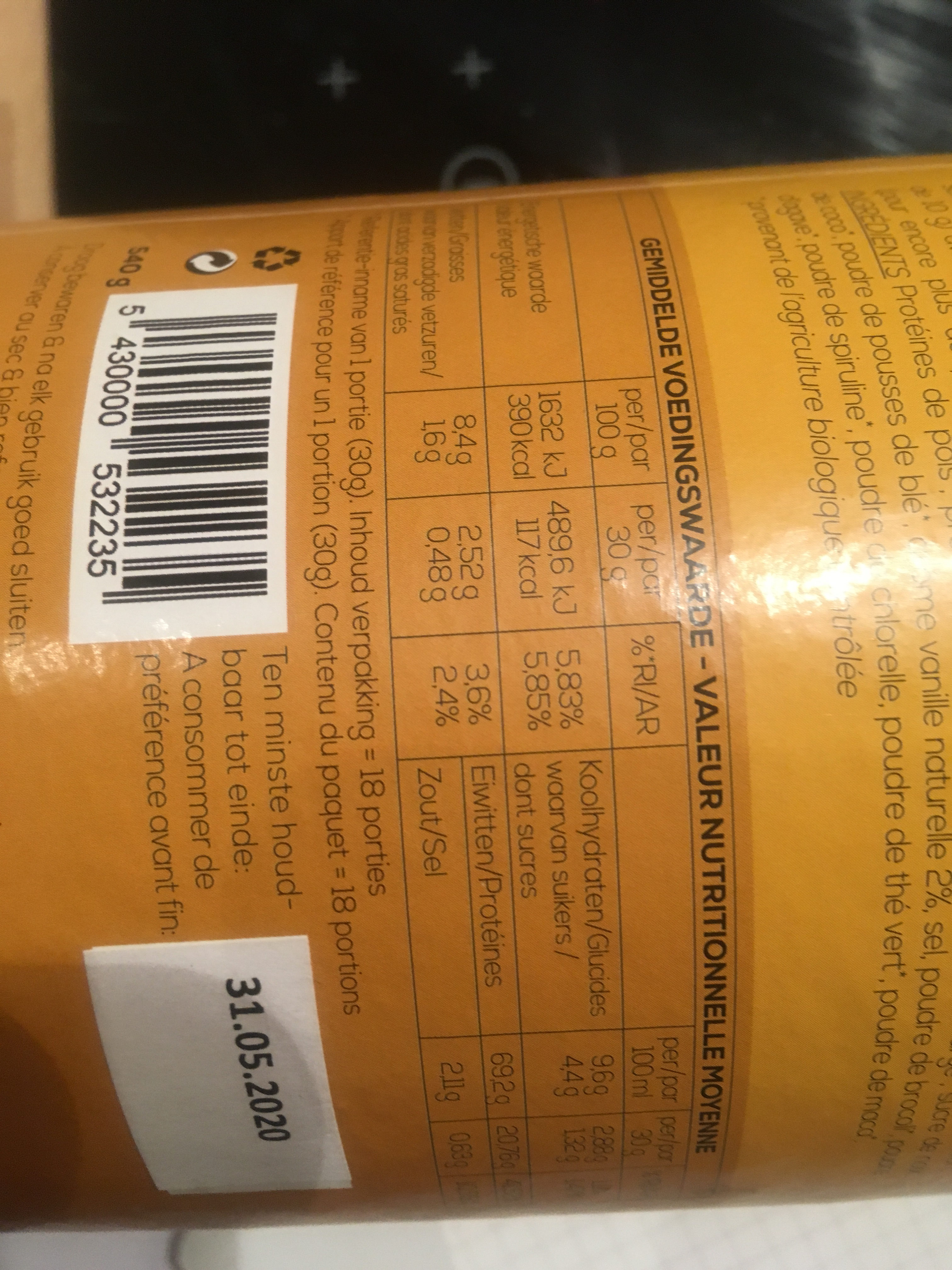 Protéines mix - Informations nutritionnelles
