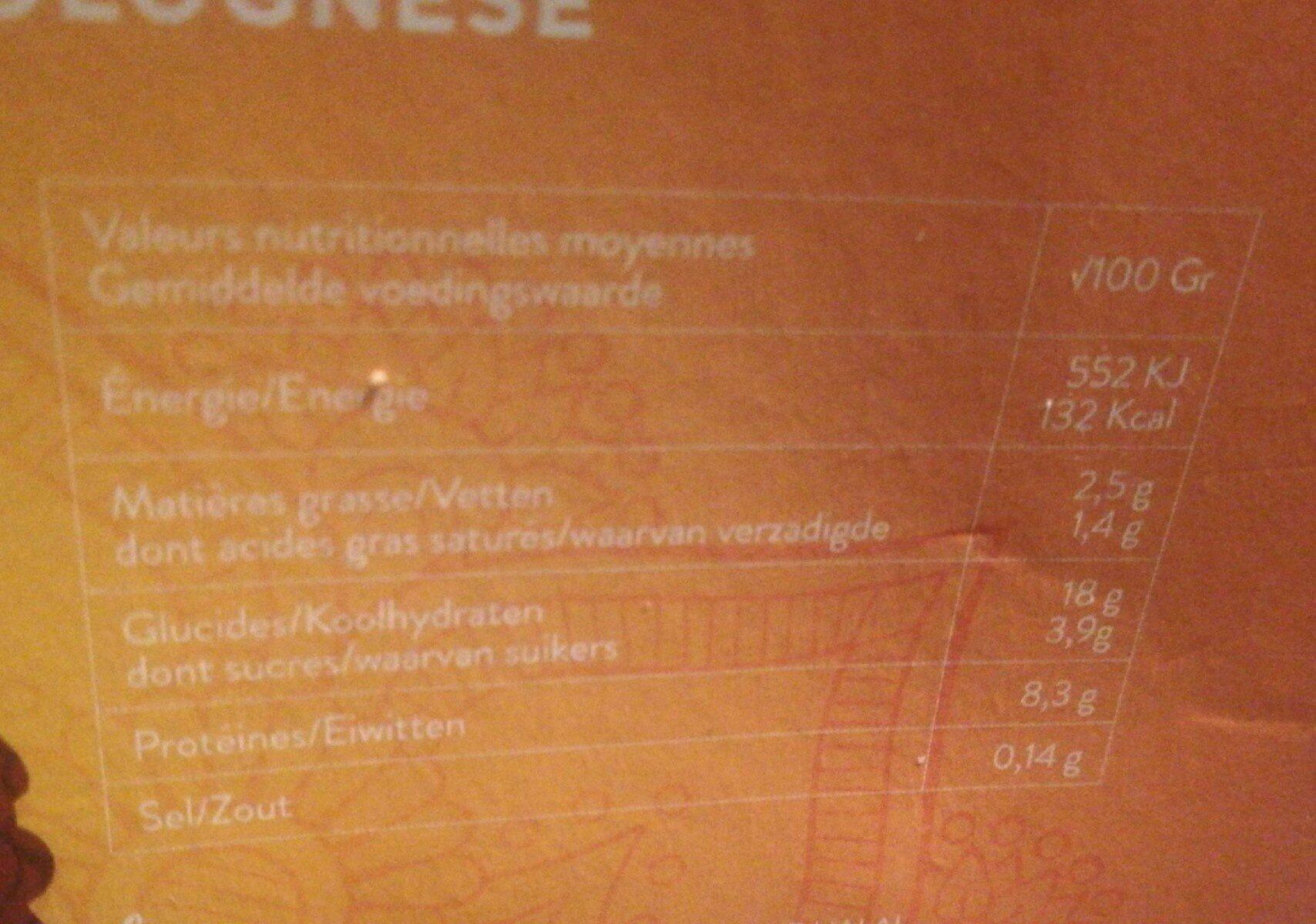 Lasagne Bolognaise 100% boeuf - Voedingswaarden - fr