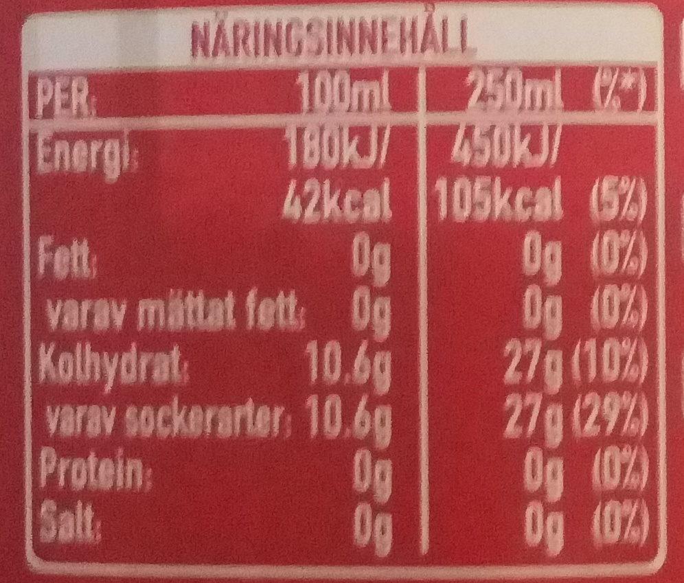 Coca Cola - Informations nutritionnelles