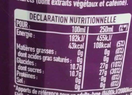 Coca-cola cherry - Valori nutrizionali - fr