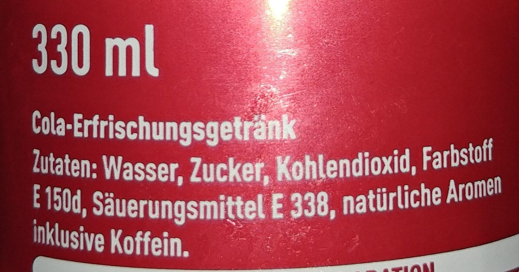 Coca-Cola Classic - Inhaltsstoffe