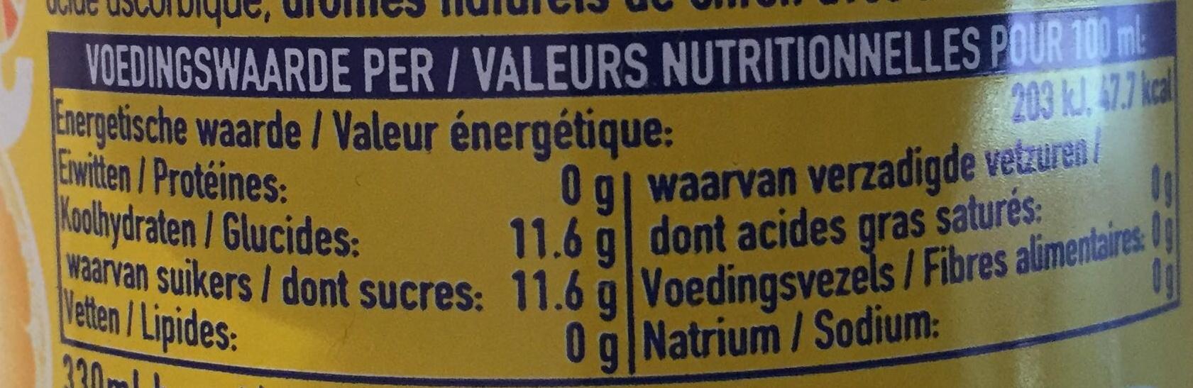 Fanta citron frappé - Información nutricional