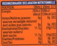 Fanta orange - Informations nutritionnelles - fr
