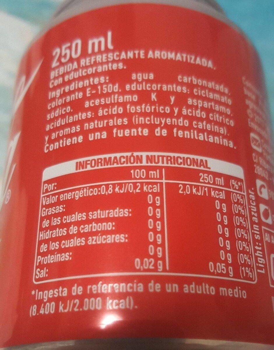 Coca Cola Light - - Voedigswaarden