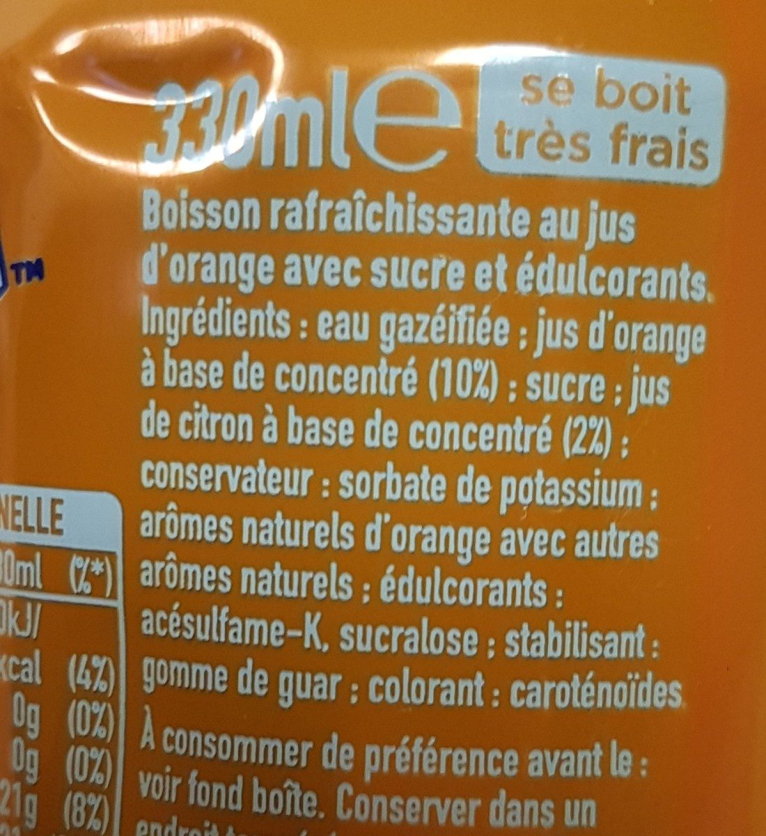 Fanta naranja - Ingredients