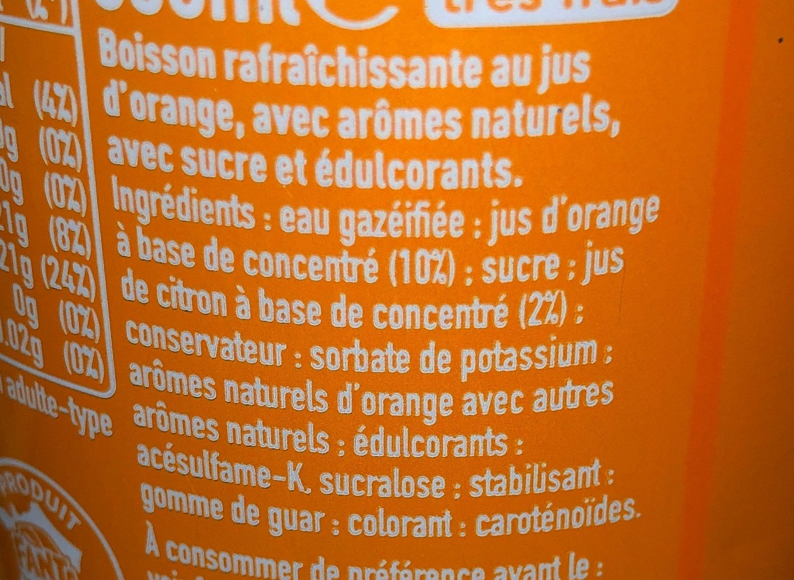 Fanta naranja - Ingrédients