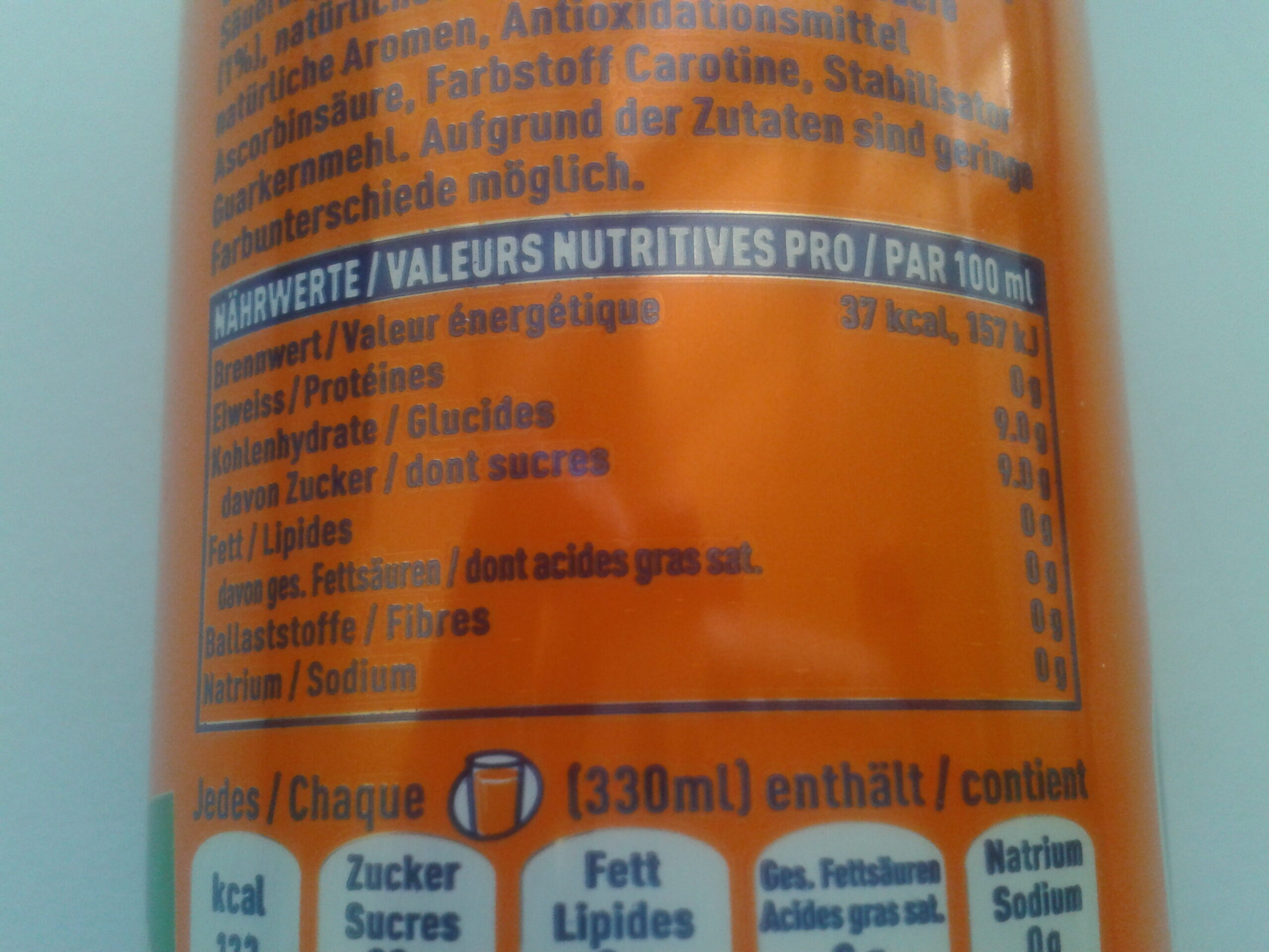 Fanta orange - Nutrition facts - fr