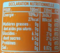 Fanta Orange - Informations nutritionnelles