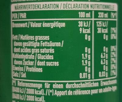 Sprite Lemon-Lime Low Sugar - Valori nutrizionali - de