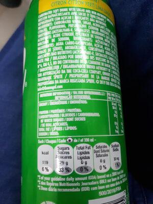 Sprite Lemon-Lime Low Sugar - Informations nutritionnelles - fr