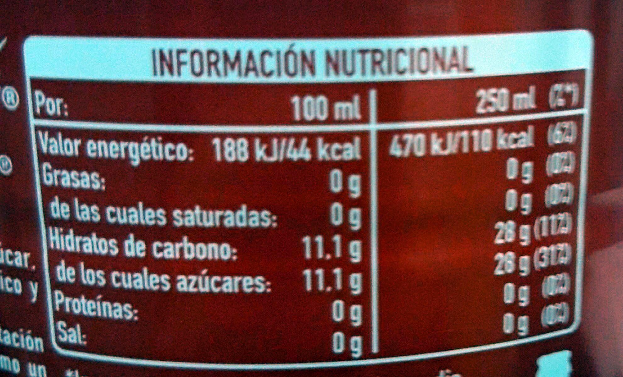 Coca-Cola sin cafeína - Informació nutricional - es