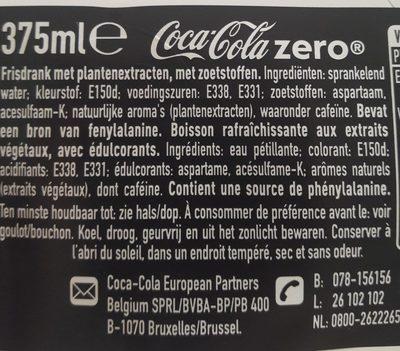 Coca Cola Coke Zero 375Ml - Ingrédients