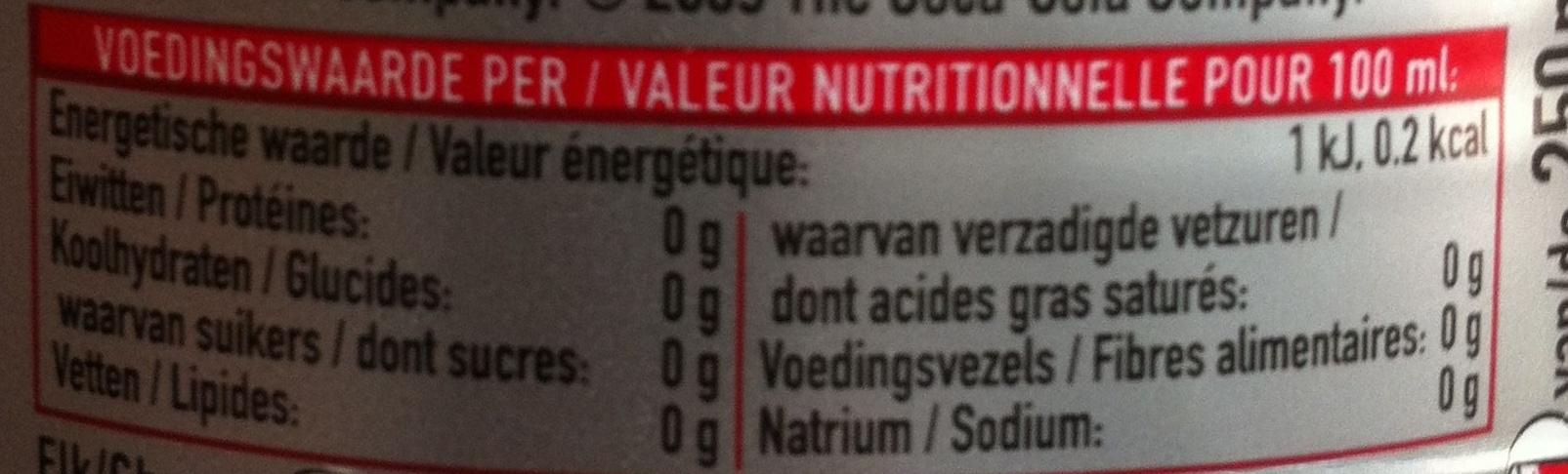 Coca-cola light - Nutrition facts - fr