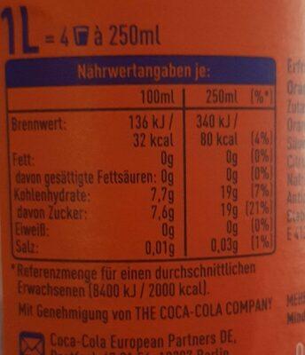 Fanta Orange - Valori nutrizionali - de