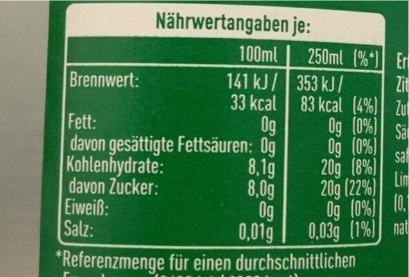 Sprite - Informations nutritionnelles - de
