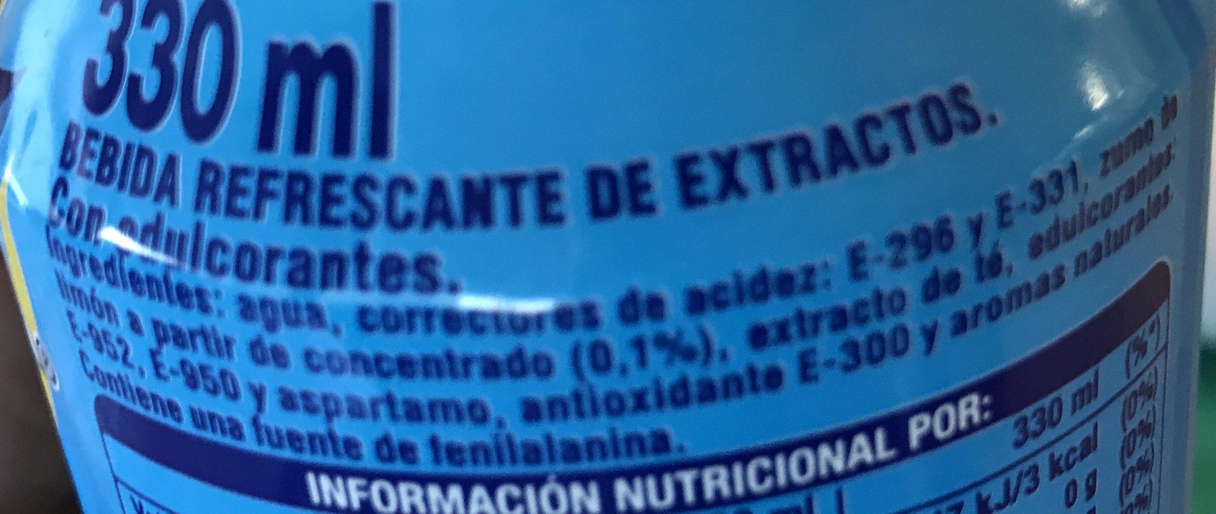 Refresco de té negro con limón sin azúcar sin calorías - Ingrediënten - fr
