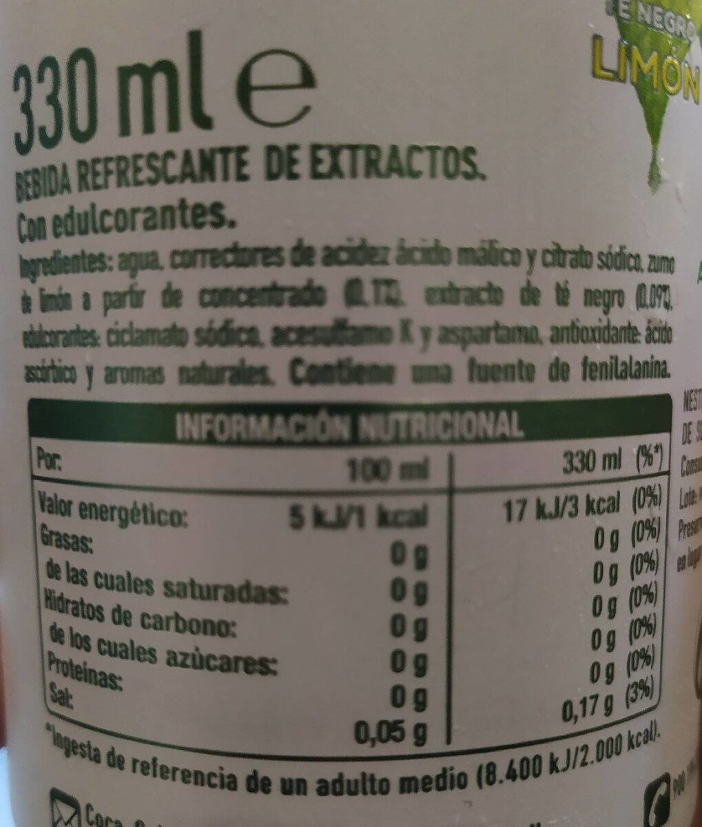 Refresco de té negro con limón sin azúcar sin calorías - Voedingswaarden - fr