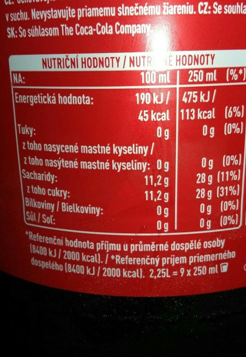 Coca Cola Original taste - Składniki