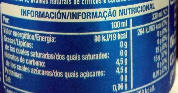 Aquarius naranja - Informations nutritionnelles - es