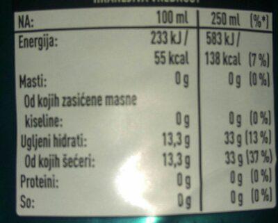 Schweppes bitter lemon - Voedingswaarden - hr