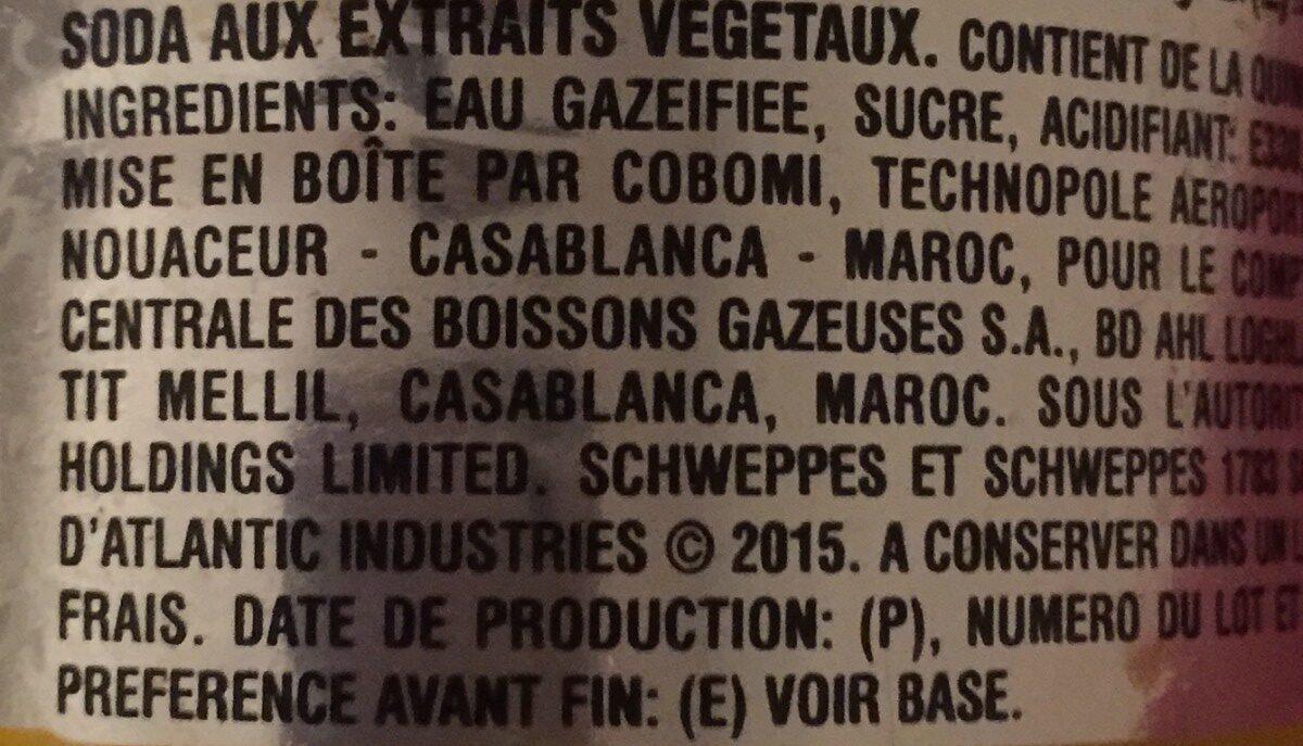 Schweppes Tonic - Съставки - en