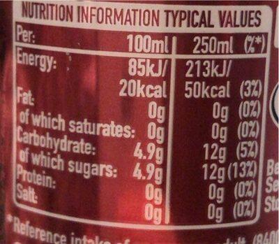 Dr Pepper - Valori nutrizionali - en