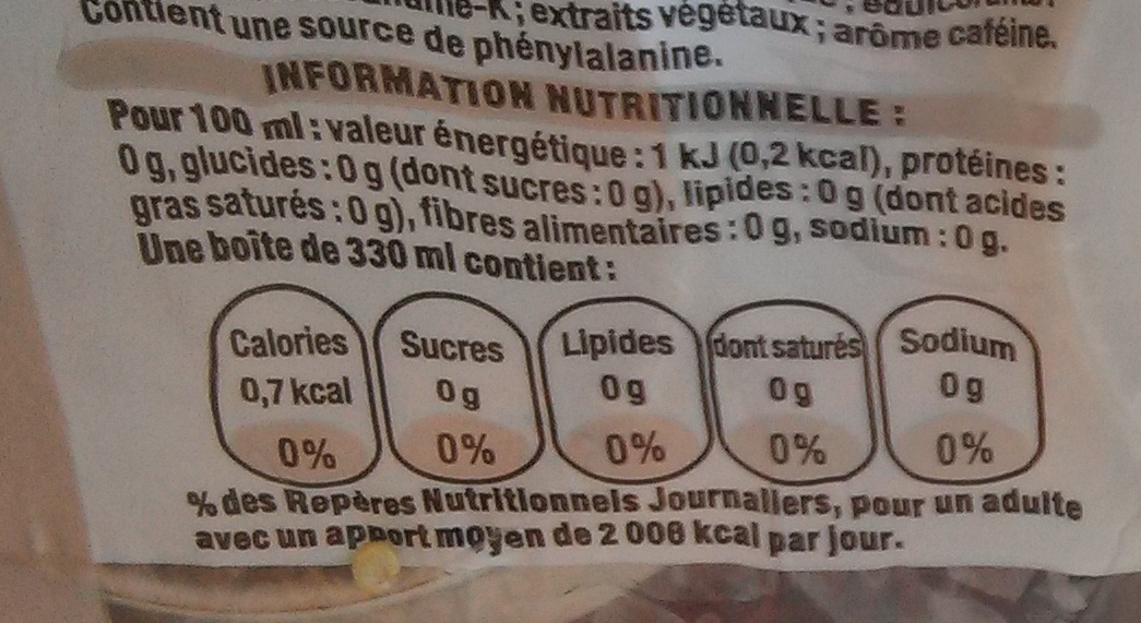 Coca-Cola Light - Nutrition facts - fr