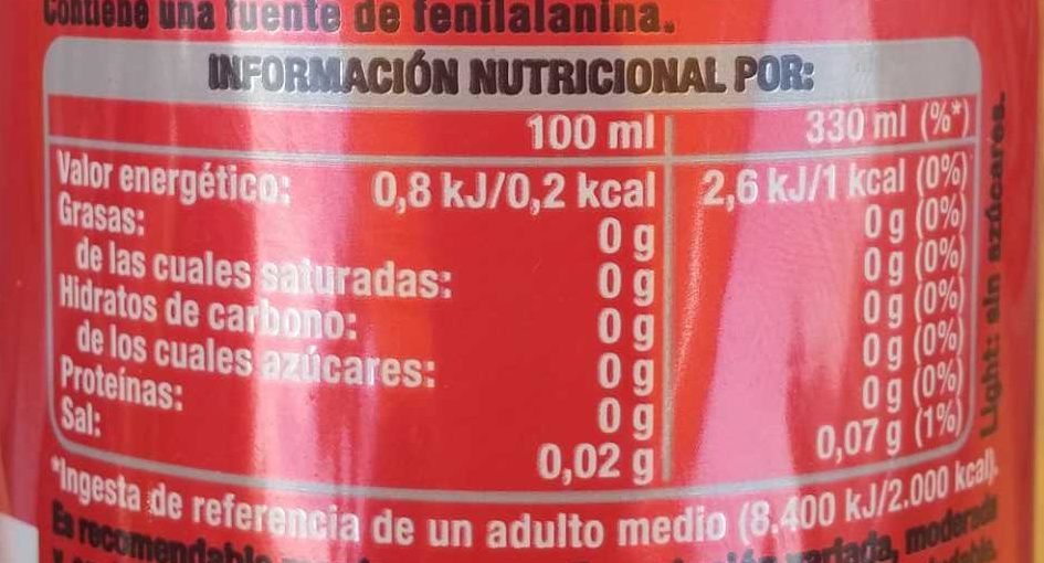 Coca Cola Light - Información nutricional