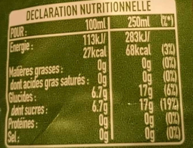 Coca-Cola life - Informations nutritionnelles - fr